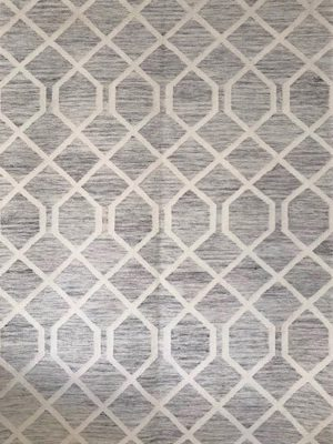 grey geometric wool rug