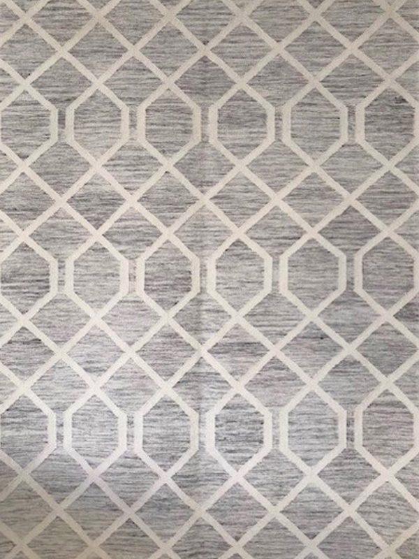 grey geometric wool rug