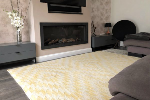 yellow geometric rug in living room