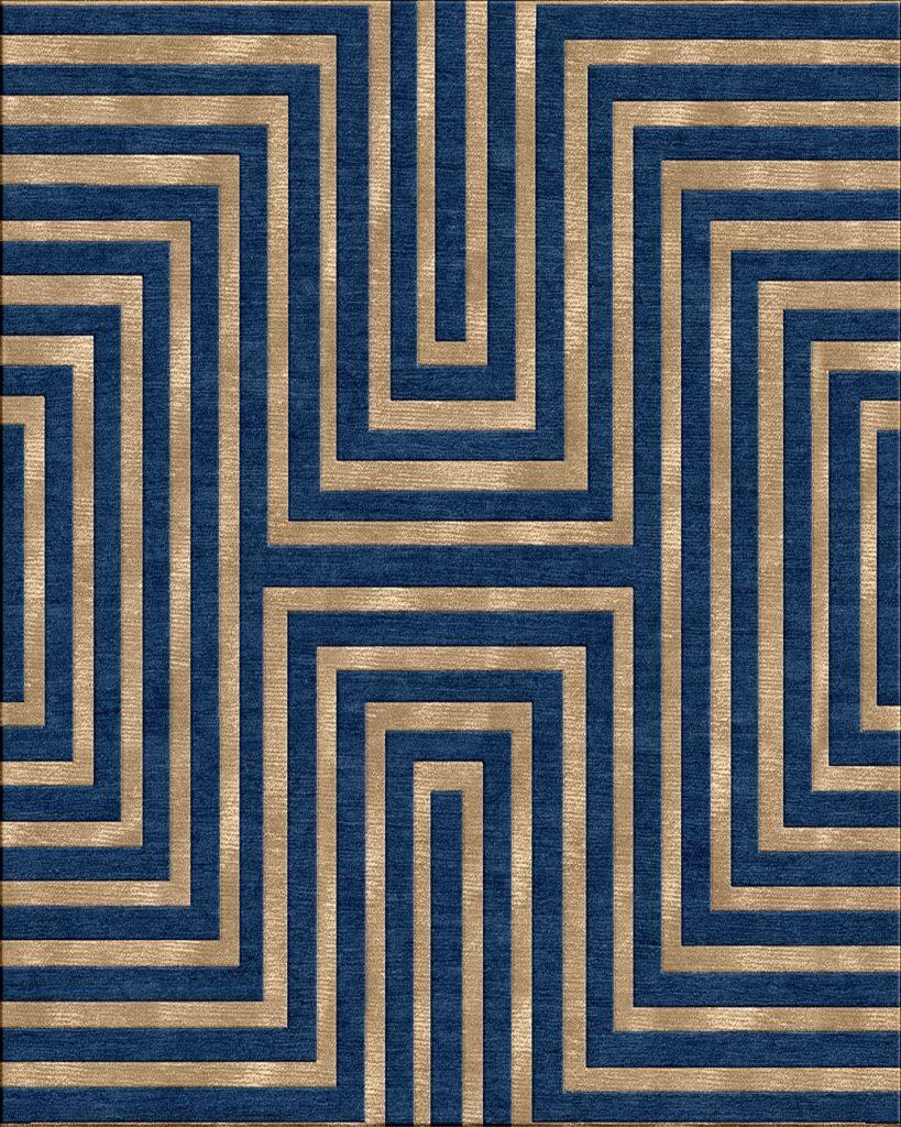 geometric striped rug blue gold