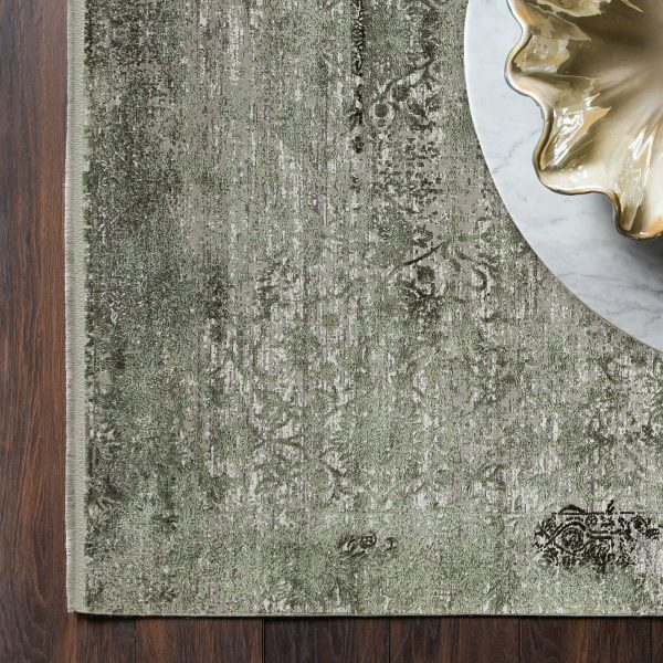 modern rug green with transitional design