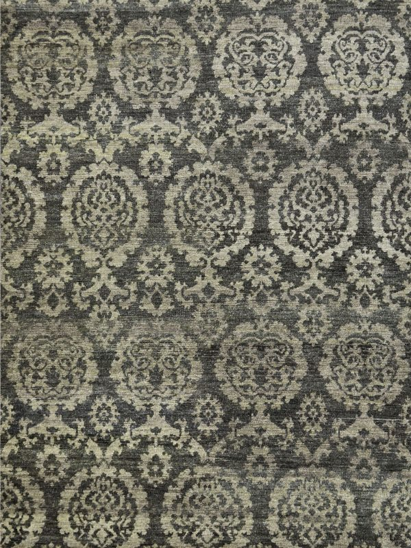 classic style hand knotted wool rug grey