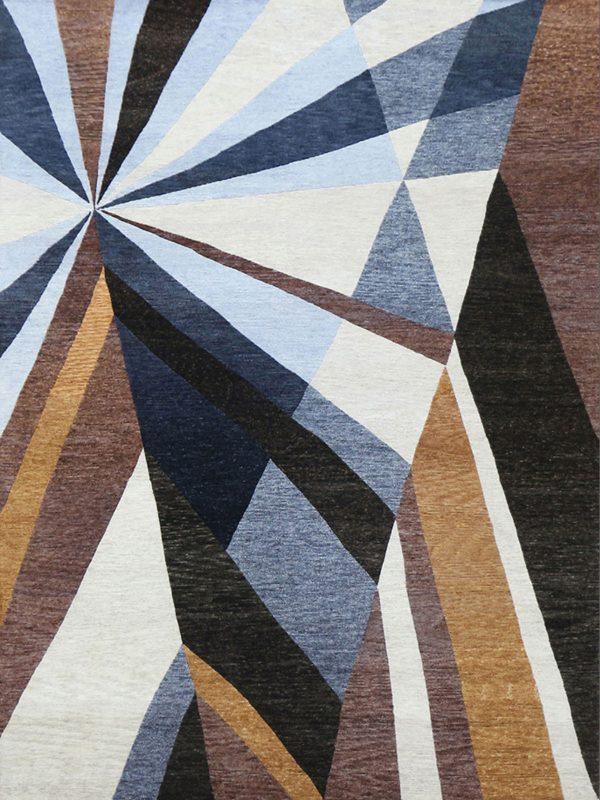 brown and blue modern geometric rug