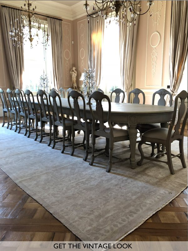 faded classic rug in dining room