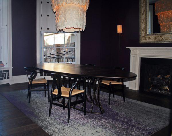 purple rug in dining room