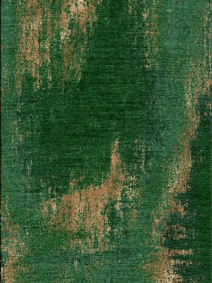 Emerald green and copper silk modern rug