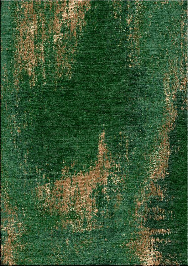 Emerald green and copper silk modern rug