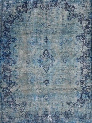 overdyed persian rug blue