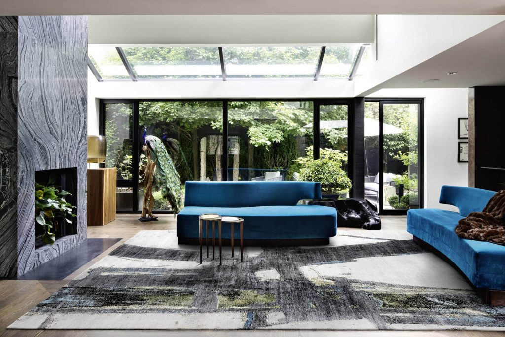 modern room with blur silver and luxury hand knotted rug art