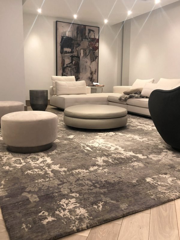 luxury grey and silver rug with silk in contemporary room