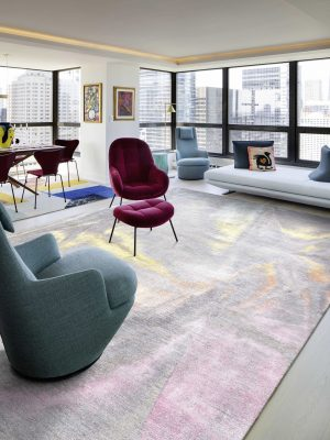 grey and rainbow silk rug in moid cenury modern style room
