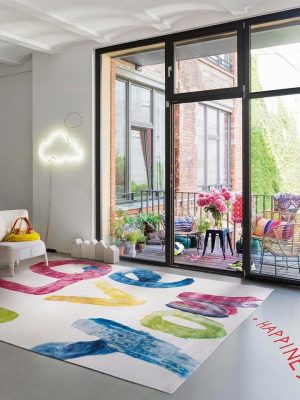 handwritings colourful statement rug in modern room