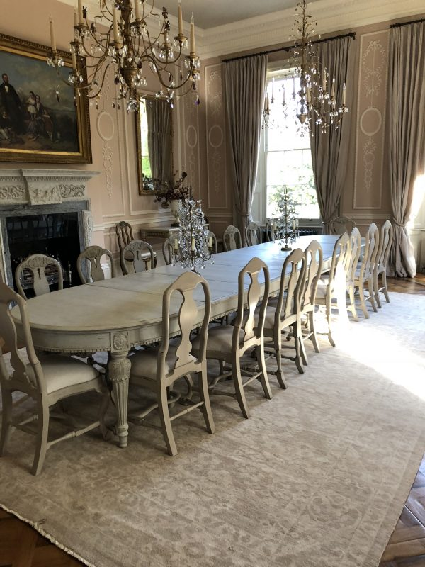 classic vintage rug in dining room
