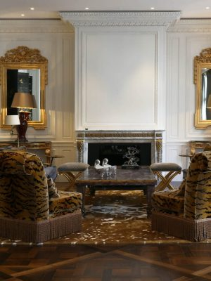 Nicolas Haslam maximalist luxurious classic room with bronze silk bespoke rug