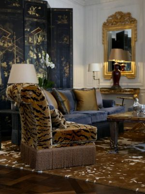 bronze silk rug in room by nikki haslam