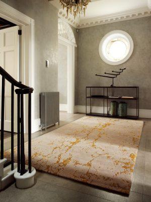 luxury gold silk rug in large hallway