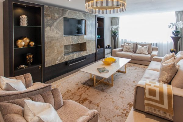 contemporary rug in luxurious living room by katheryn levitt design