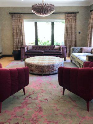 red silk rug in modern living room