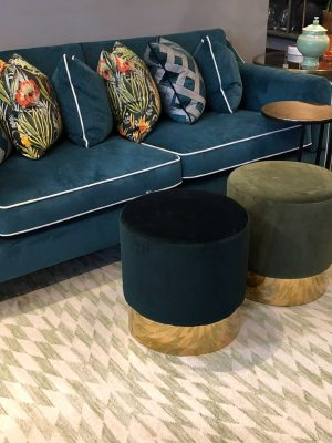 green geometric kelim with blue sofa