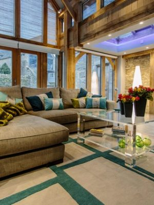 teal and ston modern rug in conservatory by nikki schaffer design