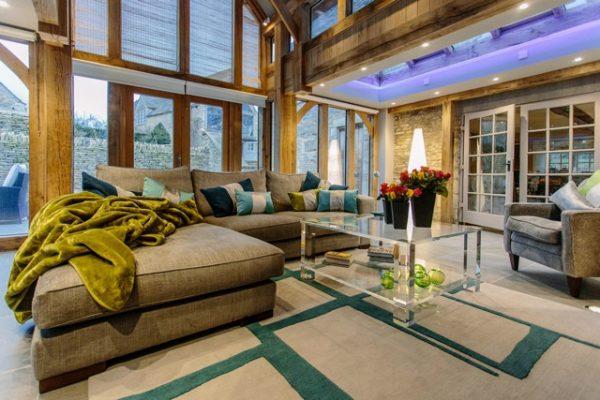 teal and ston modern rug in conservatory by nikki schaffer design