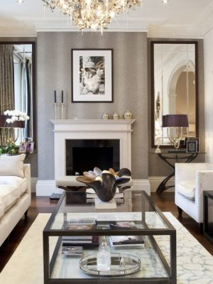 modern cream and silver rug in room by kathryn levitt design