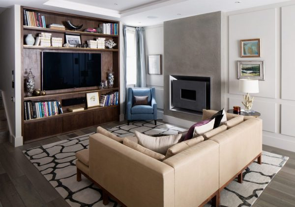 contemporary rug with leather sofa