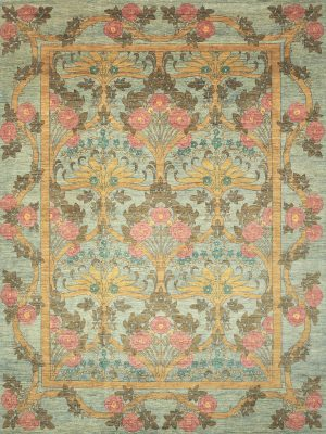 arts and crafts rug teal and pink floral