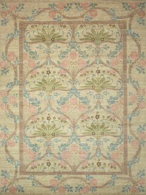 william morris style rug with cream pink green and blue
