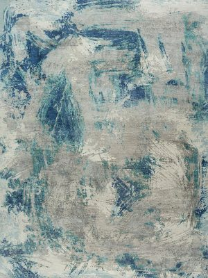 blue and silver designer rug with abstract design