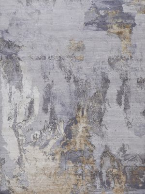 luxury abstract rug with blue grey and gold