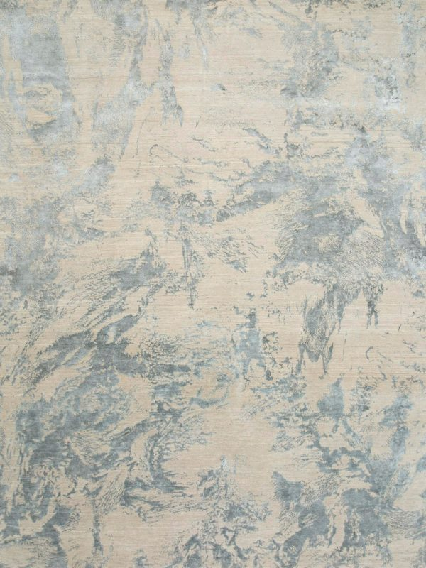 designer rug with pale silk