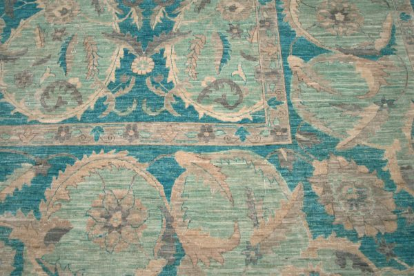 transitional rug green and teal