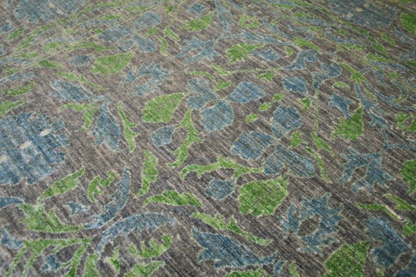 grey blue and green traditional rug