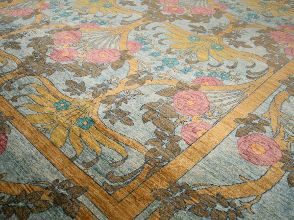 close up of blue traditional rug