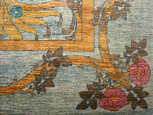 traditional rug with blue and yellow