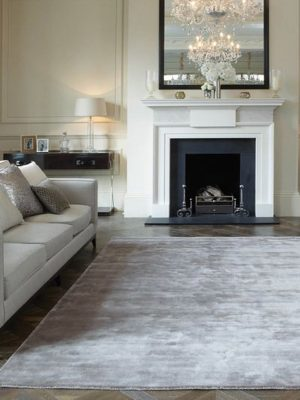 plain silk look rug