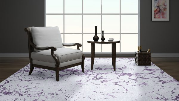 grey and purple rug in room