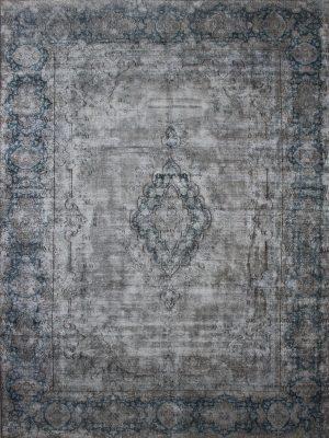grey blue vintage overdyed rug