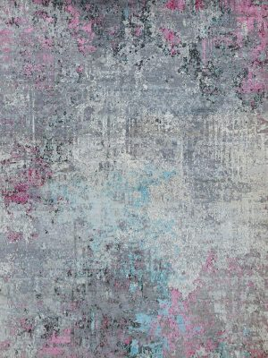 abstract design rug with pink and blue