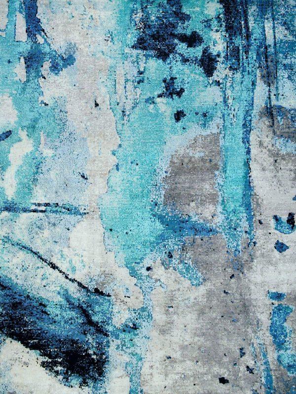 blue paint effect rug