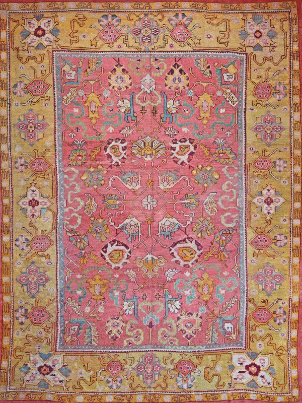 classic vintage rug ushak pink and yellow