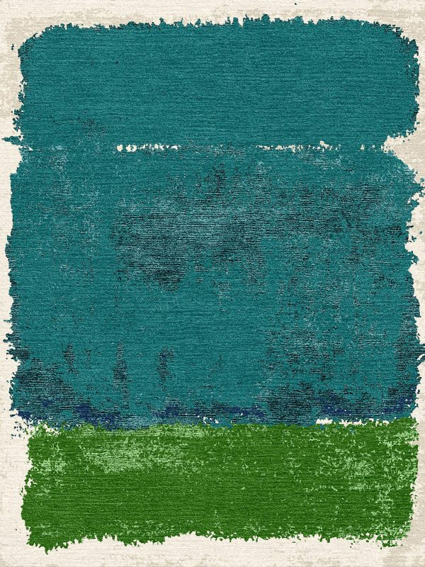 teal and green rug