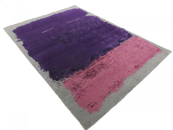 modern rug in pink and purple