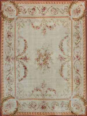 floral french antique rug