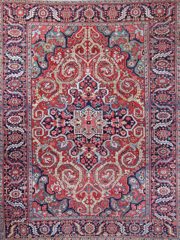 red traditional rug from Heriz Persia