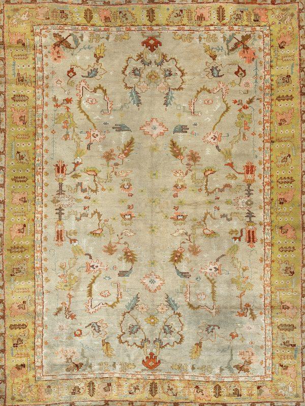 rare antique ushak rug in gold yellow