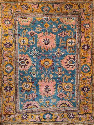 turkish ushak antique rug with teak pink and orange