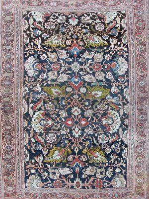 antique ziegler rug in deep blue