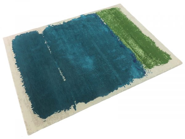 teal and green modern rug